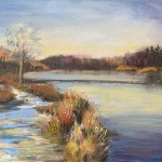 1woolven_dusk on the lake_oil 16x20 425