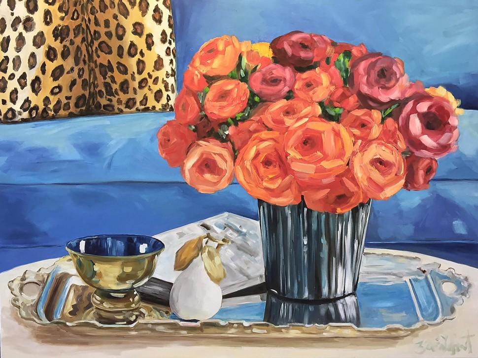 1Zoe_Le Fauteuil Bleu_oil on canvas 36x48